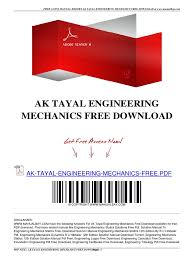 ak tayal engineering mechanics free download pdf