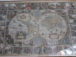 Large Framed World Map by Latin Astrological Map In Antique Gold Frame 45 X 33