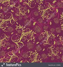 abstract patterns purple and gold floral background stock