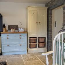 painted shaker kitchen and freestanding larder with tongued and