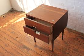 walnut nightstand with aluminum pulls by american of martinsville