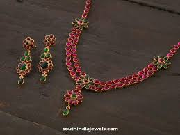 gold necklace ruby images Gold plated ruby necklace design south india jewels jpg