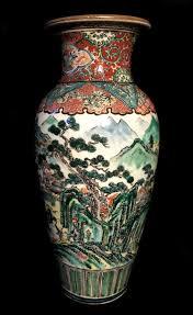 Hand Painted Vase Japanese Kutani Province Of Kaga Hand Painted Vase Red Blue