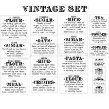 labels for kitchen canisters basics definition vintage font flour sugar oats rice pasta tea