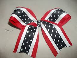 african american cheer hair bows 3 color combo softball hair bow drill team dance cheer bow red black