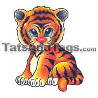 baby tiger temporary designs by custom tags