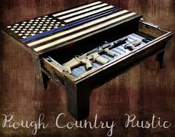 Country American Flag Deluxe Home Defense Coffee Table Thin Blue Line American Flag