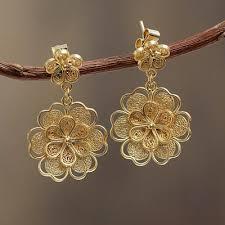 dangle earring gold plated filigree handmade flower dangle earrings yellow