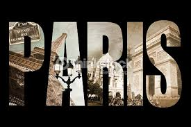 photo collage letters paris isolated on black background vintage