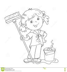 coloring page outline of cartoon with mop and bucket stock