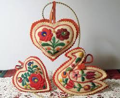 3 vintage hand embroidered hungarian matyo wool felt christmas