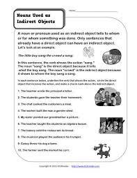 nouns as indirect objects 3rd grade noun worksheet