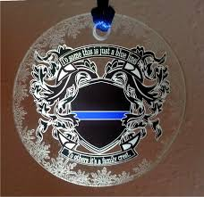 thin blue line heraldic family crest ornament