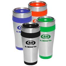promotional 16oz insulated accent stainless steel travel mugs 122004