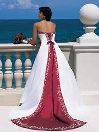 Red And White Wedding Dresses Red And White Strapless Wedding Dress Sang Maestro