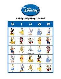 classic walt disney birthday personalized bingo cards