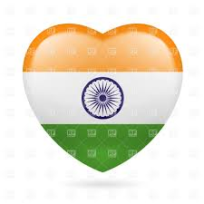 National Flags With Orange Heart With Indian Flag Colors I Love India Royalty Free Vector