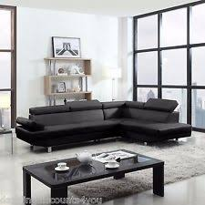 Black Sectional Sofa With Chaise Modern Sectional Sofa White Chaise Contemporary Leather Look 2