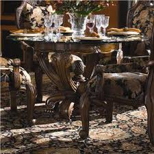 Michael Amini Dining Room Set Michael Amini Oppulente 5 Piece Glass Top Round Dining Table Set