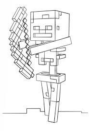 minecraft skeleton bow coloring free printable