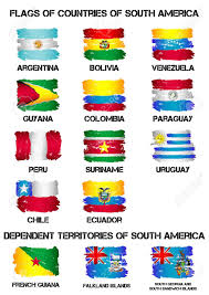 South America Flags Set Of Flags Of South America Countries From Brush Strokes In
