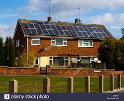 solar panels on houses photo voltaic solar panels on roof of semi detached houses in