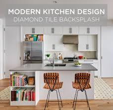 modern kitchen design using diamond tiles mercury mosaics