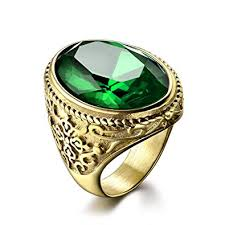 male rings images Masop luxury jewelry oval green stone stainless steel men 39 s rings jpg