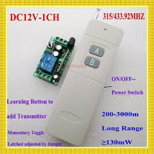 long range remote control light switch 3000m long range remote control switch dc 12v 1 ch 10a relay