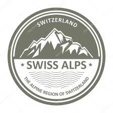 snowbound swiss alps emblem switzerland stamp u2014 stock vector