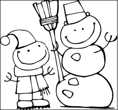 cute snowman and child winter coloring pages for kids eii