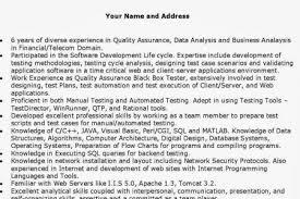 Qa Engineer Resume Example Quality Assurance Advice Qa Resume Objective Resume Cv Cover