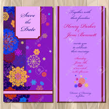 wedding invitation card with red pink gold blue and white