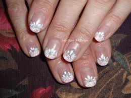 nail art design wedding french manicure with a twist on short