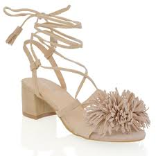 womens low block heel fringe strapy ladies lace up tie sandals