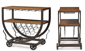 triesta antiqued vintage metal and wood wheeled wine rack cart