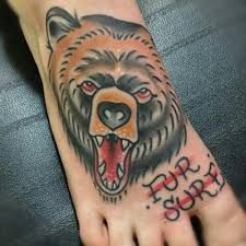 bear face design on foot tattoo tattoos book 65 000 tattoos