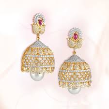 earrings in grt diamond jhumka model from grt jewellers pearl earrings