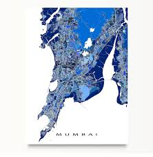 Mumbai India Map by Mumbai Map Art Print India City Wall Artwork Blue Bombay Map