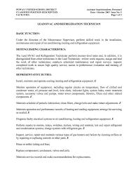 It Technician Job Description Sample Air Condition Technician Job Description Resume Sample With