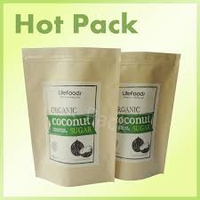 3 side heat sealed natural kraft paper stand up zip pouches for