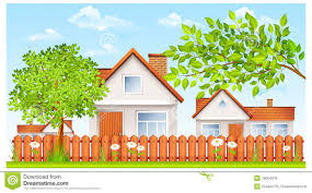 small house with fence and garden royalty free stock image image