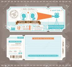ticket filme wedding template design convite royalty free cliparts
