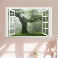 compare prices on tree wall vinyl decals online shopping buy low 40 60cm green old tree 3d window wall sticker removable vinyl decal mural art home
