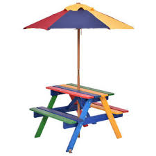 Kids Outdoor Picnic Table Costway Op3156 4 Seat Kids Picnic Table W Umbrella Garden Yard
