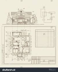 authors design residential house blueprint plan stock vector author s design of residential house blueprint plan and elevation dimensions frame for