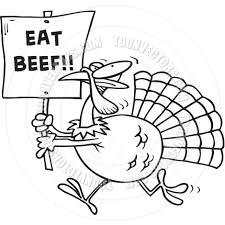cartoon turkey beef black and white line art by ron leishman