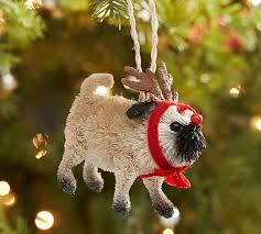 bottle brush pug ornament pottery barn