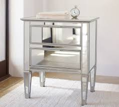 grey metal bedside table park mirrored 2 drawer nightstand pottery barn
