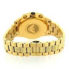 gold armani bracelet images Emporio armani men 39 s pvd gold plated black face chrono design jpg